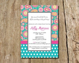 Paisley Baby Shower Invitation - shown in teal and bright pink - mix and match patterns