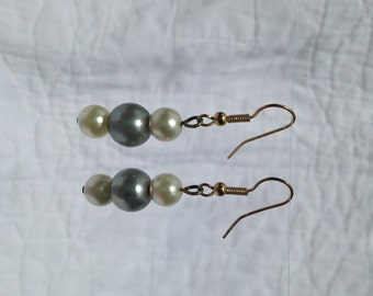 White and Silver Pearl Earrings