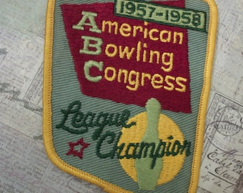 Vintage 1958 American Bowling Congress League Champion Bowling Patch