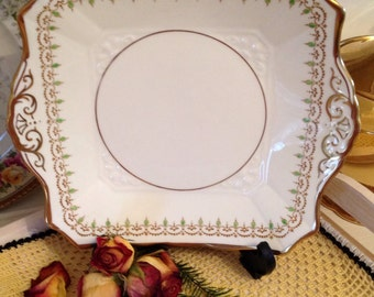 Vintage Art Deco Tuscan Plant bone china square eared cake plate 1930's Cp041