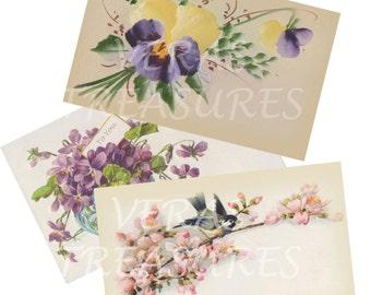 Vintage Style Floral Postcards Digital Images for card making or Crafts