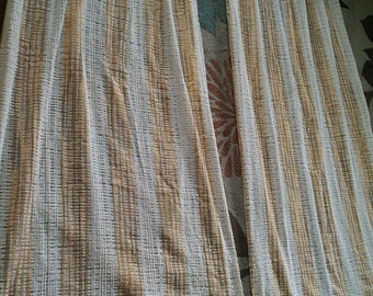 Loose Weave Retro Yellow White Striped Curtains Draperies