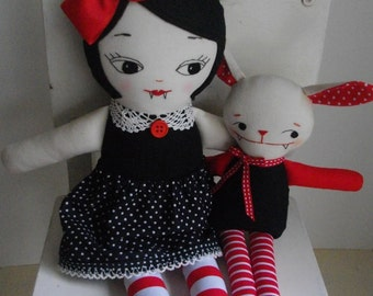 VAMPIRE RAGDOLL in LOLITA Dress - Handmade Gothic Rag doll cloth doll plush toy - Made to Order