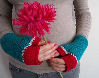 Hot pink and green fingerless mittens, fingerless mitts in hot pink, green and white, green wool gloves