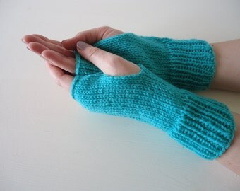 Aqua green fingerless mittens, green mittens, soft acrylic gloves