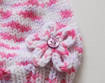 Pink flower baby hat, newborn hat with a small flower on it, wearable baby hat