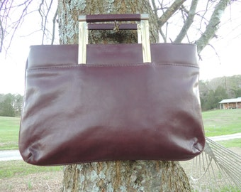 P000145 Vintage Burgundy Leather Clutch Brass Pull-Out square handles Mini-Attaché' Clutch Handbag Briefcase -by God Oddities Decor on ETSY