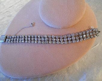 Vintage 50's Silver and Crystal/Rhinestone Bracelet