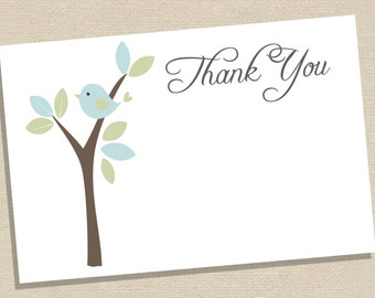Baby Shower Thank You Cards - Baby Bird Baby Shower Thank You Card - Blue Bird Thank You  - Baby Bird Thanks - Instant Download Thank You