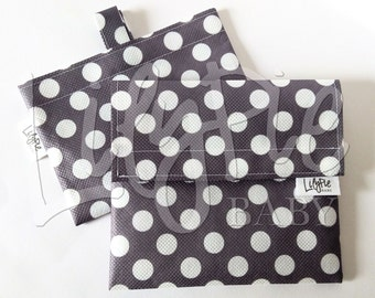 Reusable Sandwich Bag & Reusable Snack Bag Set in GRAY W/DOTS print - Velcro - Eco friendly - Food Safe - Dishwasher Safe - Back to School
