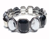 Black and Hematite Faceted Lucite Stretch  Bracelet - Eid gift