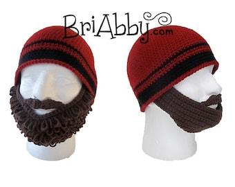 Crochet Curly & Straight Beard Beanie Pattern (PDF FILE)