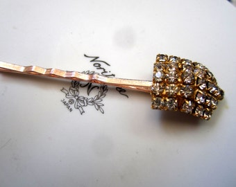Repurposed and Upcycled  Vintage Rhinestone Clip On Earring Bobby Pin/Hair Clip - Eco Chic Hair Accessory