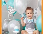 Cake Smash Outfit Baby Boy - Aqua and Grey - Spring Wedding Outfit - First Birthday - Grey Vest Aqua Bow Tie - Ring Bearer - Easter Outfit