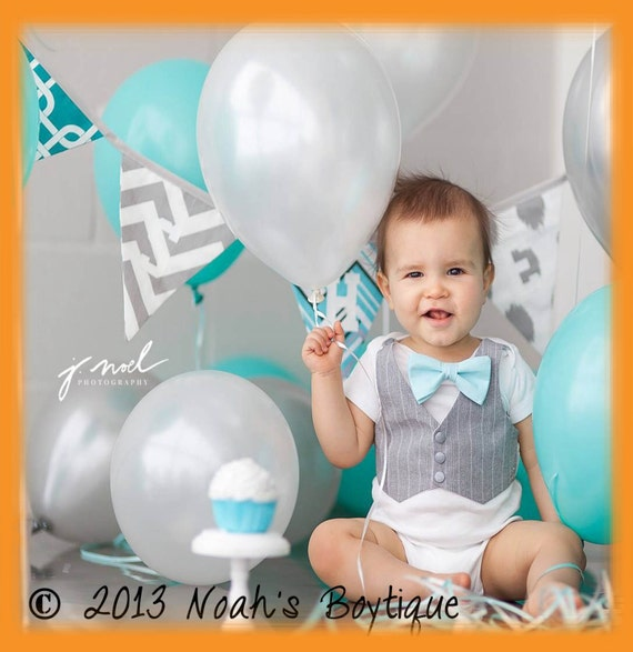Cake Smash Outfit Baby Boy Aqua And Grey Spring Wedding