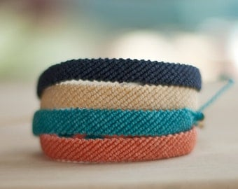Flat Braided Bracelet - Waxed polyester Friendship Bracelet - Custom - Choose your own color