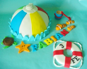 BEACH Ball Cake Topper Set with Name, Sea Life and Life Preserver All Edible
