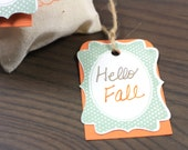 Fall Gift Tags in Orange and Green - Wedding Party Favors - Personalization - Set of 10