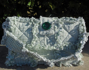 Green Gingham Wooden Bottom Rag Quilt Purse (( Ready Made-Ready To Ship))