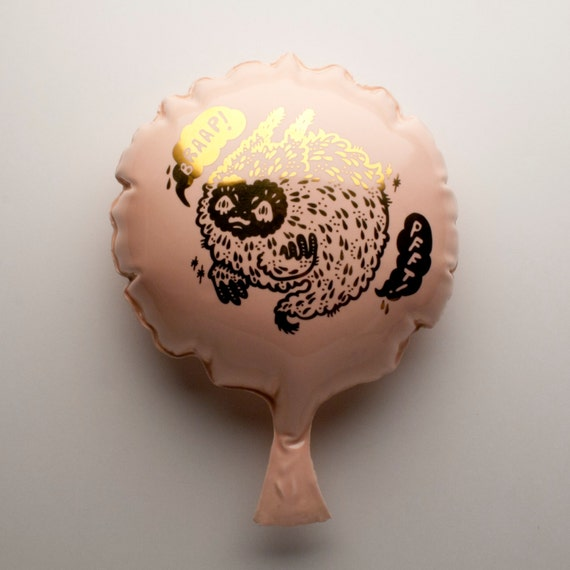 Ceramic Whoopee Cushion (Pink with Gold Decal)
