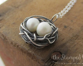 Sterling Silver Birds Nest Necklace, Mama Bird, Mothers Necklace, One, Two, Three