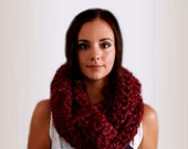 Chunky Infinity Scarf Cowl Oversized Long Crochet Infiniti Loop Circle Scarf Warm Softest Scarf Ever and Made in USA Knit Burgandy Claret