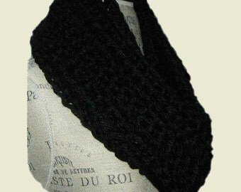INFINITY SCARF Cowl Black Long Knit Chunky Infiniti Scarf Hand Made in USA Crochet Classic Black Circle Scarf Favorite Gift Idea