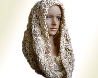 Hooded Infinity Scarf Cowl Knit Crochet Scarf Lacey Scarves Infiniti Scarf Hooded Cowl Snood Spring Scarf ift Idea Gift for Her