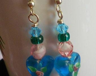 Blue Heart lampwork beaded earrings