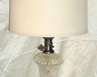Vintage Mid Century Diamond Point Glass / Gold Filigree Metal Table Lamp