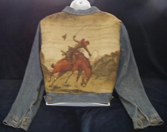 Denim Jacket Embellished with Bucking Bronco Tapestry