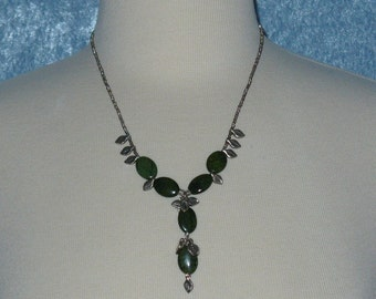 Bead Necklace - Green Jasper Silver Leaf Necklace