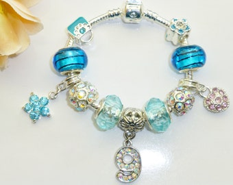 birthday age blue charm bracelet numbers 3 to 9 to choose from also choice of size