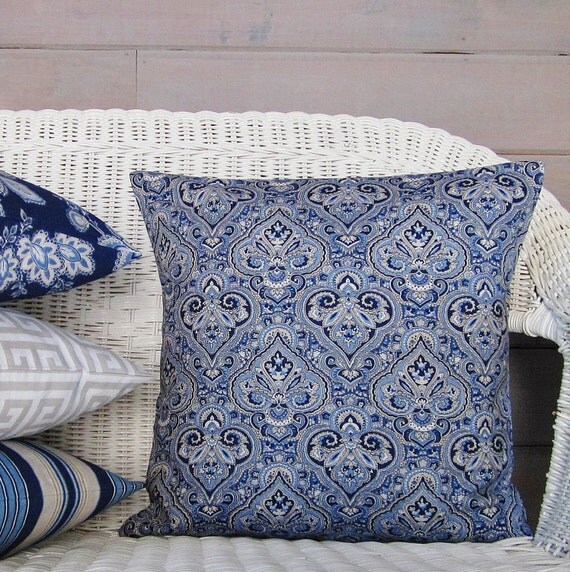Navy Blue Decorative Bed Pillows : Navy Blue Paisley Pillow Cover Taupe Tan White Decorative