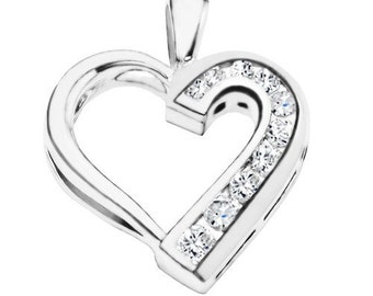 Sterling Silver Traditional Heart Shaped Pendant Charm with Diamonds G-H I2-I3