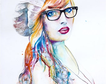 "Original Watercolor Painting -""Colorblind"". Portrait of a girl with glasses."