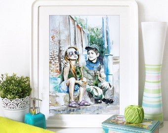 Watercolor Print - Summertime. Art print of kids outdoor.