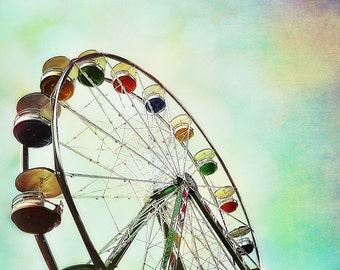Ferris Wheel Fine Art Photograph, Nursery Art Blue Sky, Vintage, Carnival Multicolor turquoise red yellow