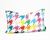 "Houndstooth Lumbar Pillow Cover - Large Print -  12"" x 20"" - Linen / Cotton Blend"