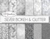 "Silver bokeh papers ""SILVER BOKEH & GLITTER"" bokeh overlay, silver bokeh, digital backgrounds, glitter, bokeh for photographers,scrapbooking"