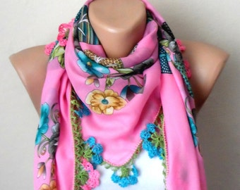 pink scarf blue  flower mint green  yellow gray cotton turkish yemeni oya handmade