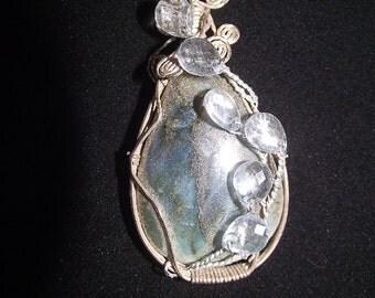 Labradorite sterling silver wire wrapped pendant