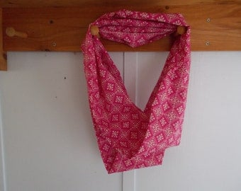 "Infinity Scarf. Cotton Hot pink and white print infinity scarf.  Approx 5"" x 72"".  Great light weight scarf to add color  to your outfit."