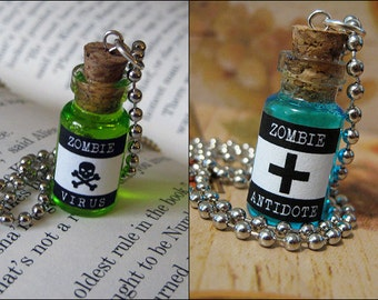 Zombie Virus & Antidote 1ml Glass Bottle Necklace Charm - Cork Vial Pendant Set - Zombie Cure Walking Dead