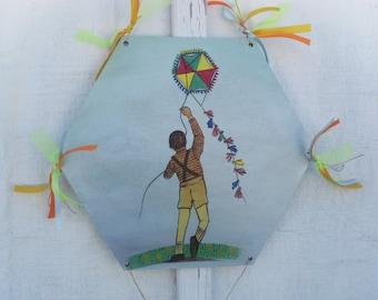 Kid Flying Kite - Home Decor - Wall Hanging