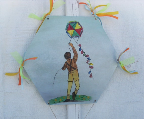 Kid Flying Kite - Home Decor - Wall Hanging