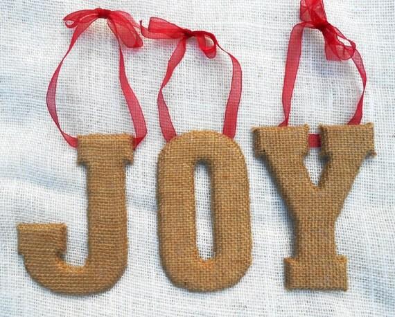 Items Similar To Burlap Christmas Decoration Joy