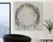 Original Blue Abstract Circle Painting - Large Neutral Toned Textured Wall Art