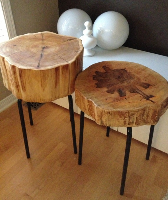 Large Tree Stump Coffee Table: Eco-Friendly Wood Stumps Wood & Metal Side Tables EACH