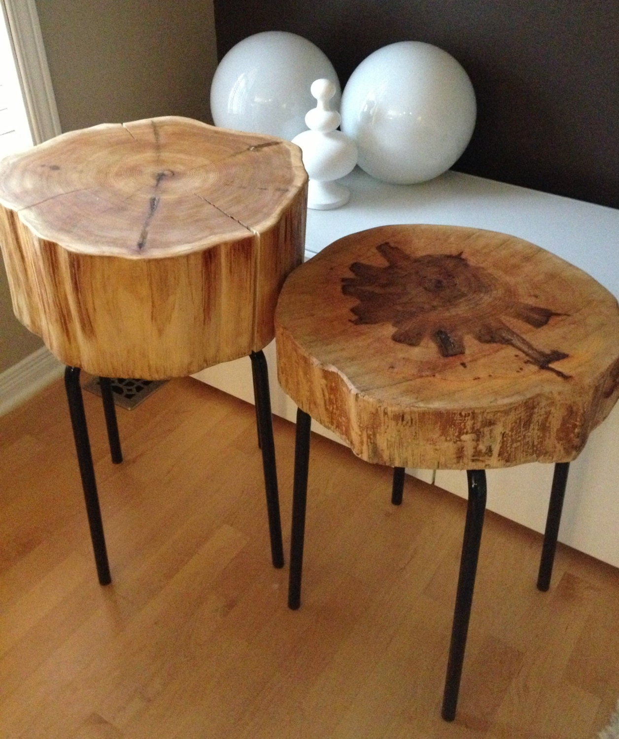 Eco friendly wood stumps wood metal side tables each for Wood stump end table